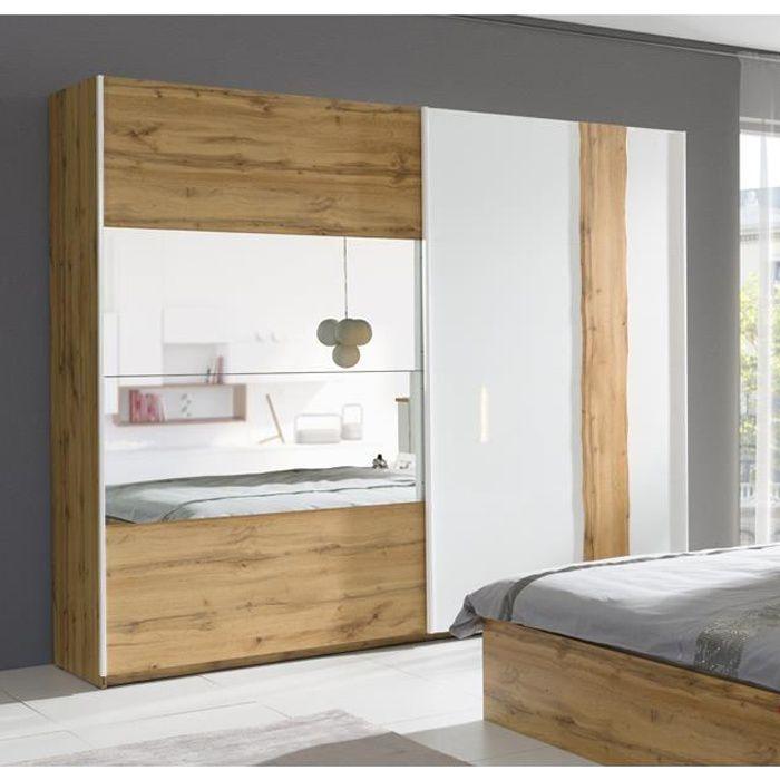 Armoire, garde robe WOOD petit modèle deux portes coulissantes. Coloris chêne et blanc laqué. Meuble pour chambre à coucher.