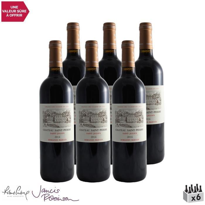 Château Saint-Pierre Rouge 2014 - Lot de 6x75cl - Vin Rouge de Bordeaux - Appellation AOC Saint-Julien - 17-20 Jancis Robinson - Cép
