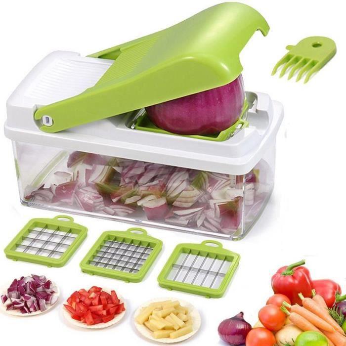 Chopper à Légumes, Trancheuse à Fruits Dicer Hachoir Râpe Cutter Manuel Oignon Shredder Fruit Cutter avec 3 Lames en inox
