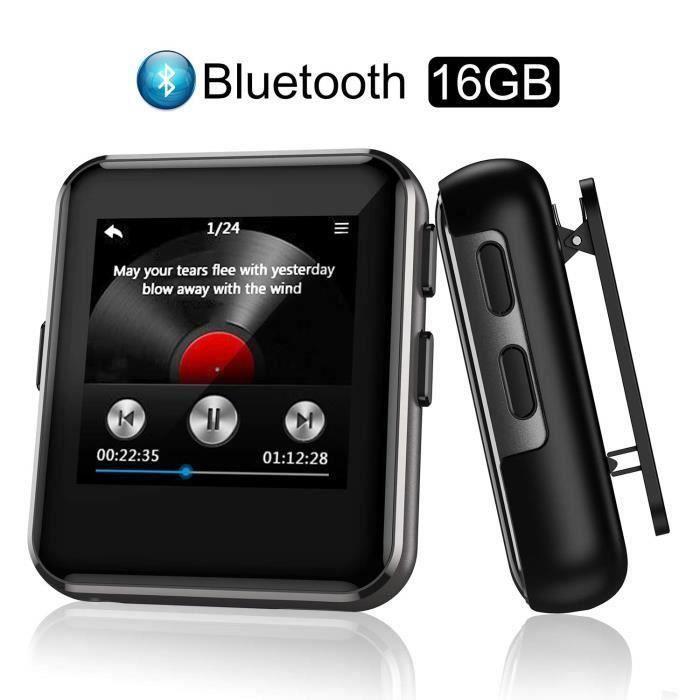 Arbily Lecteur MP3 Bluetooth, 16 Go Lecteur de Musique Hi-FI Lossless Sound avec Écran Tactile de 1,54 - E-Book Vidéo