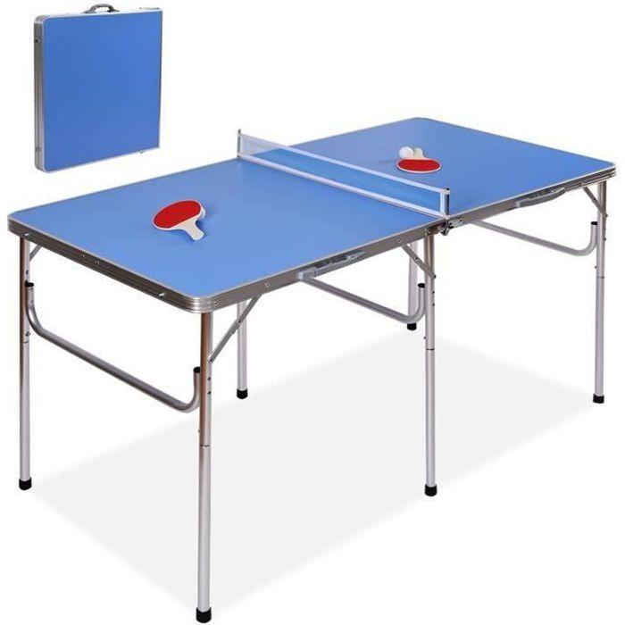 COSTWAY Table de Ping-pong Pliable Table de Tennis de Table Portable avec 2 Raquettes et 2 Balles Coffret de Rangement Bleu