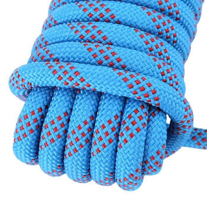 corde de survie Longe Paracord Panchute Corad robuste de 12 mm avec corde à grimper mousqueton (bleu-10 m)