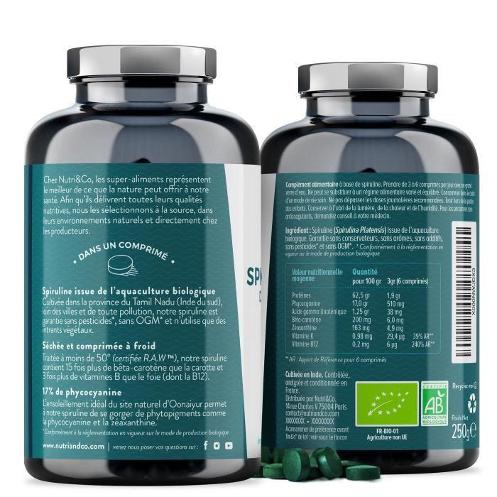 Spiruline Bio AB - 500 Comprimés de 500 mg Purs sans Excipient - 15 à 19% de Phy