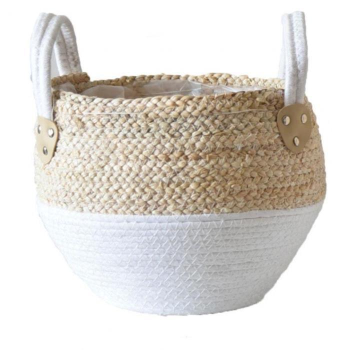 Paille Pot de fleurs Seagrasss Paniers pique-nique Cache-pot en rotin Tote ventre panier d'épicerie avec poignée pour le stockage Dé