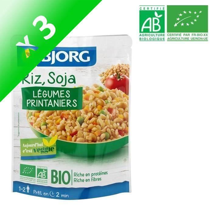 BJORG Riz Soja légumes Doypack Bio 250g (Lot de 3)