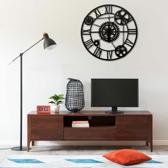 Horloge murale Noir 80 cm Métal HB321456 -RAI