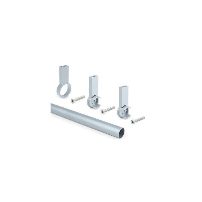 Kit de 2 barres penderie en aluminium D. 28 x 1400 mm et supports Keeper pour armoire finition couleur gris - 7062262 - Emuca