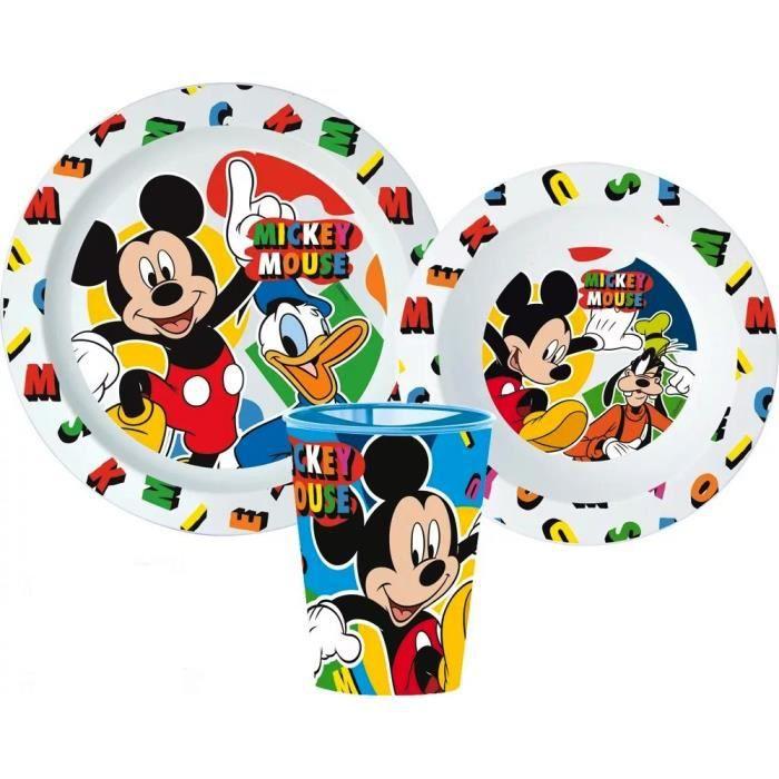 Set repas Mickey Micro onde gobelet assiette verre réutilisable GUIZMAX