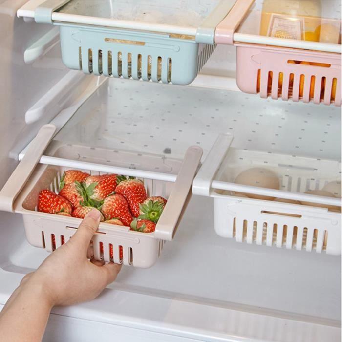 Tiroir de Frigo Stockage de fruit de légume de réfrigérateur Rangement panier Téléscopique Organisateur de Frigo