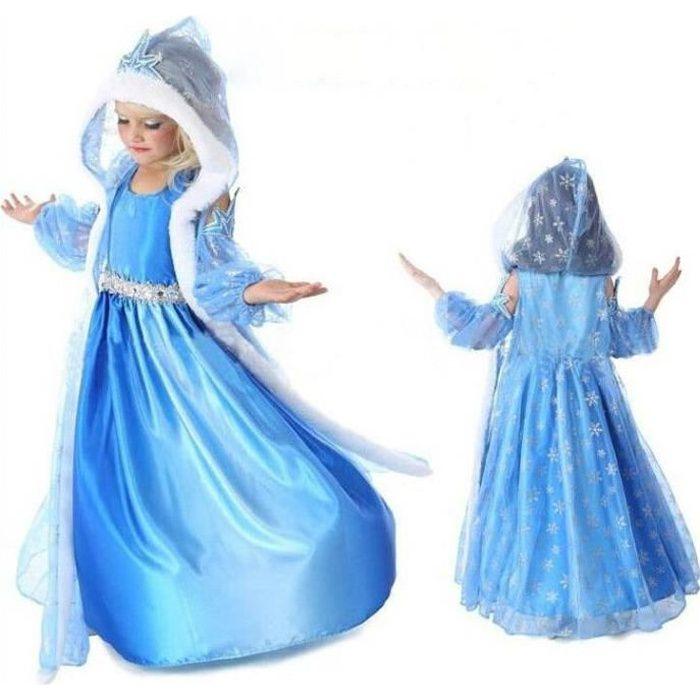 Robe Elsa Déguisement Reine des Neiges avec Cape Hiver