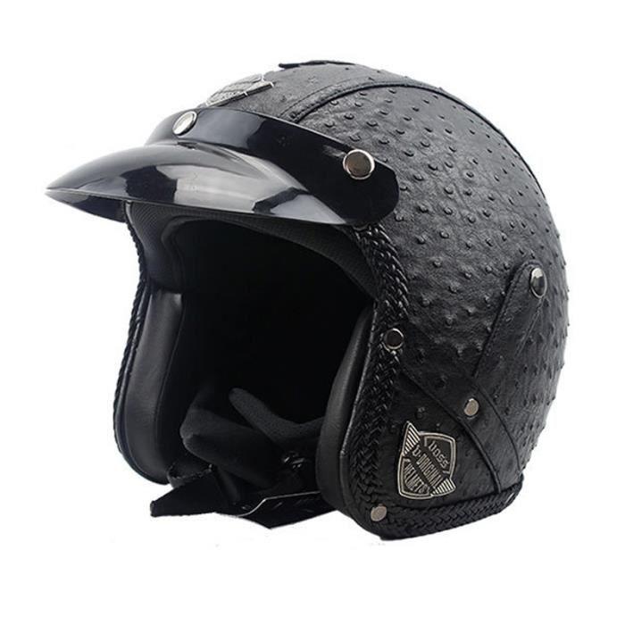Casque Moto de Marque luxe unisexe Casque Harley vintage moto casque demi casque en pu cuir 3-4 de personnality Casque Moto