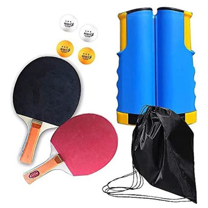 Set de tennis de table filet de ping-pong rétractable + 2 raquettes + 4 balles + sac - bleu jaune