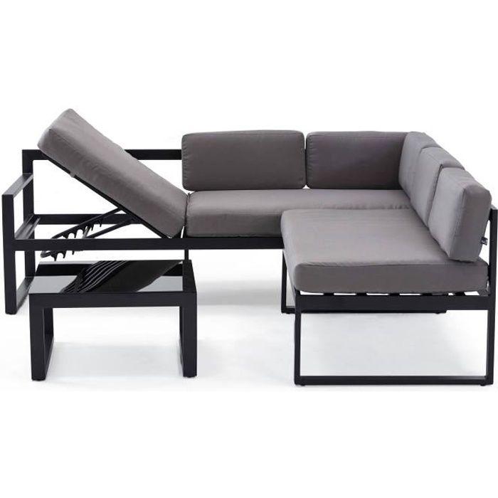 Salon de jardin 5 places en aluminium avec banquette baculante - canapé d'angle 5 personnes