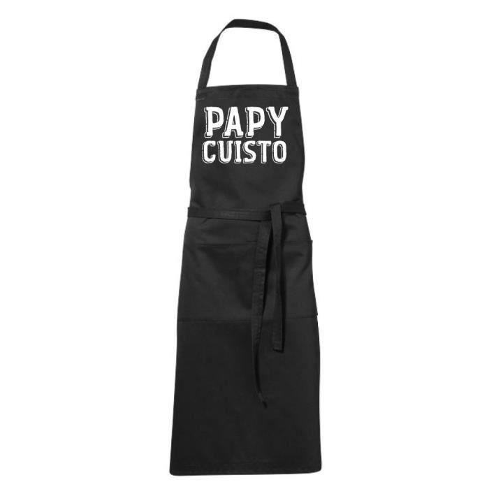 Tablier de cuisine noir Humoristique - PAPY CUISTO - fete des Pères