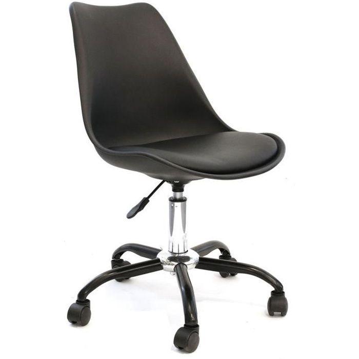 Chaise de bureau à roulettes design Kiruna - Noir