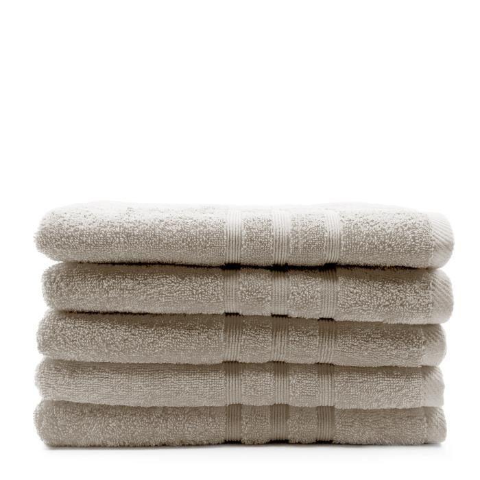 TODAY Lot de 5 Draps de bain Mastic - 70 x 130 cm - 100% coton