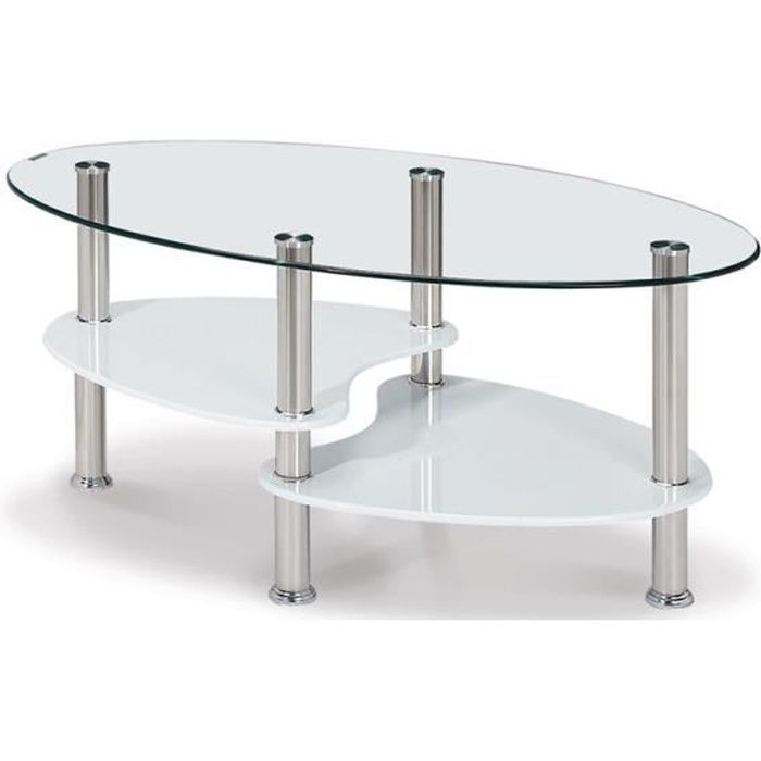 Table basse en verre tremp ovale opunake achat vente for Tables basses de salon en verre