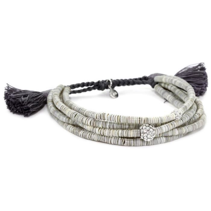 Tai Grey Shells And Crystal Beads Multi-strand Bracelet AS7ZX