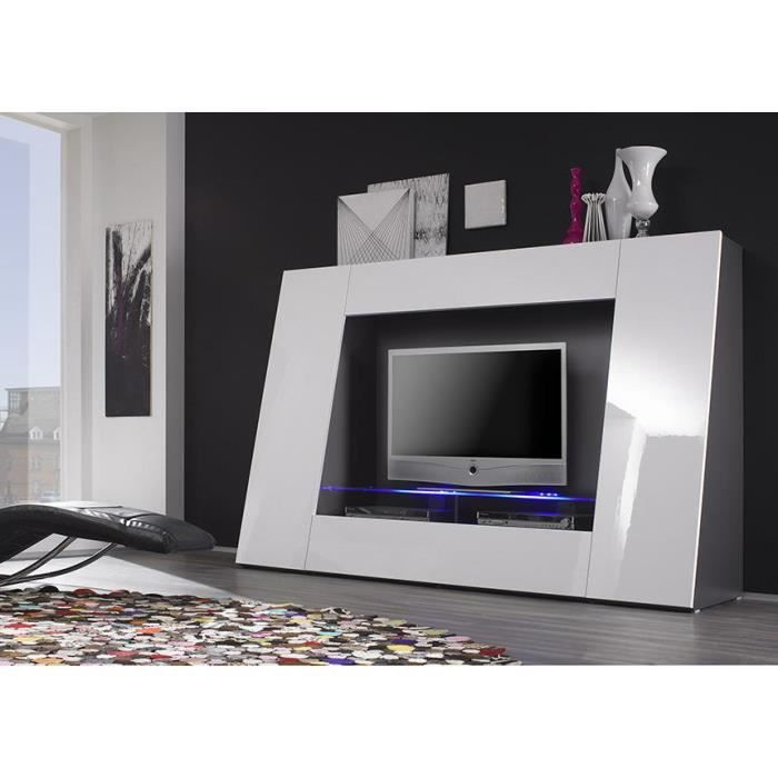 meuble tv blanc laqu avec led pix achat vente meuble. Black Bedroom Furniture Sets. Home Design Ideas