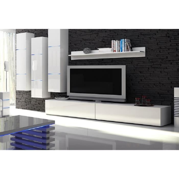 Unique mur tv deco ref lobo full white led achat vente living meuble tv unique mur tv for Deco mur tv