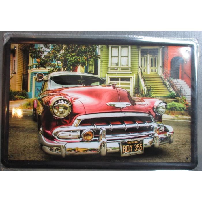 plaque publicitaire 30cm voiture usa rouge style cuba d co garage loft affiche tole metal. Black Bedroom Furniture Sets. Home Design Ideas