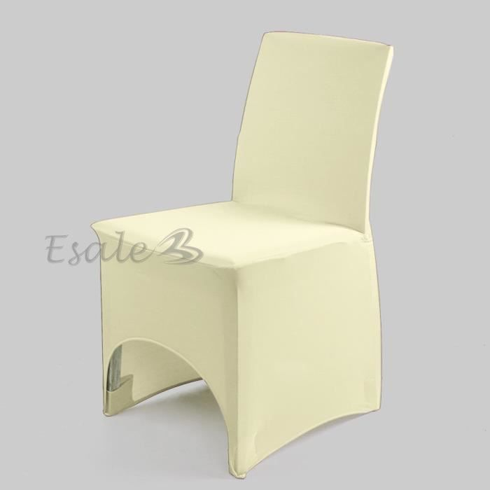 Housse de chaise beige en lycra extensible d co mariage for Housse de chaise extensible
