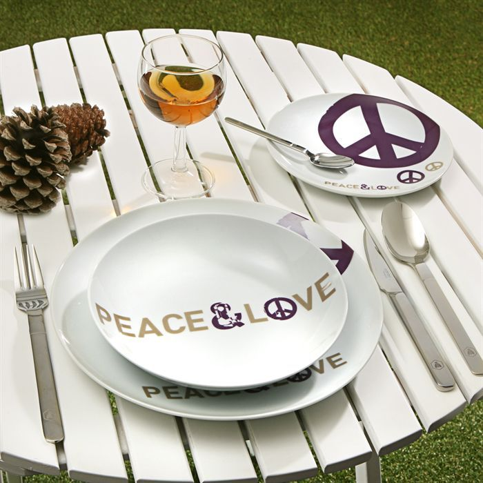 Service de table myk 18 pi ces peace love achat - Services de table ...