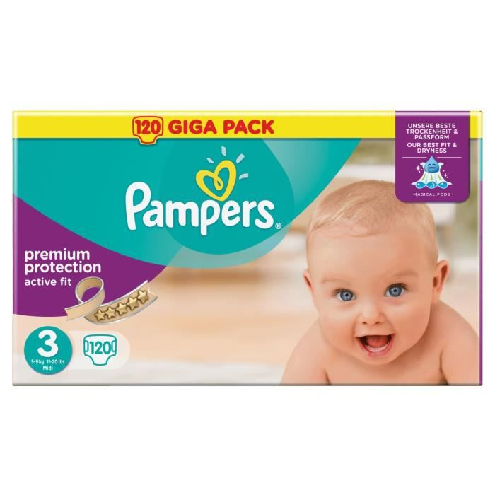 Pampers active fit taille 3 4 9 kg 120 couches - Couches pampers active fit taille 4 giga pack ...