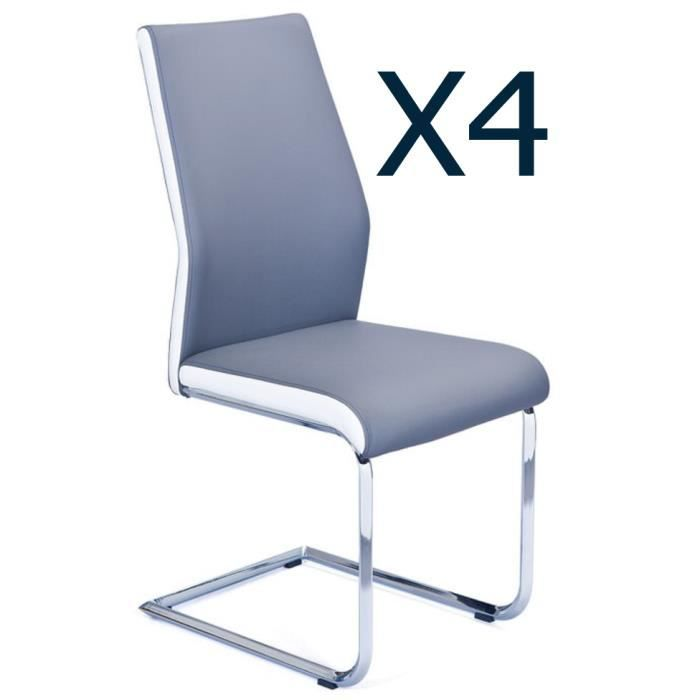 Lot De 4 Chaises Coloris Gris Blanc En PU Et Metal Chrome 44 X 57 96 Cm