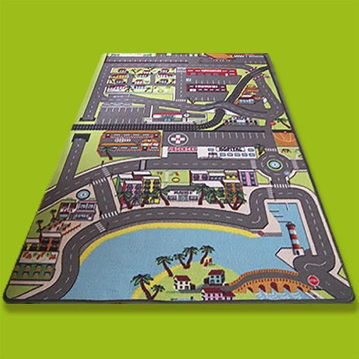 tapis jeu enfant 130 x 200 cm route circuit dans la ville achat vente tapis de jeu cdiscount. Black Bedroom Furniture Sets. Home Design Ideas