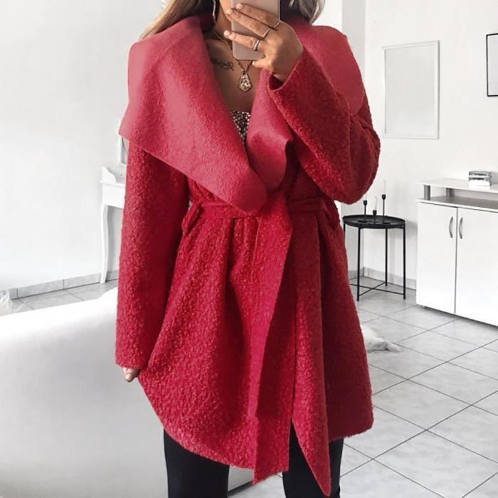 Femmes Caban irrégulière Lapel Neck Outwear Manteau Cinch taille avec ceinture Pardessus Cardigan @rouge