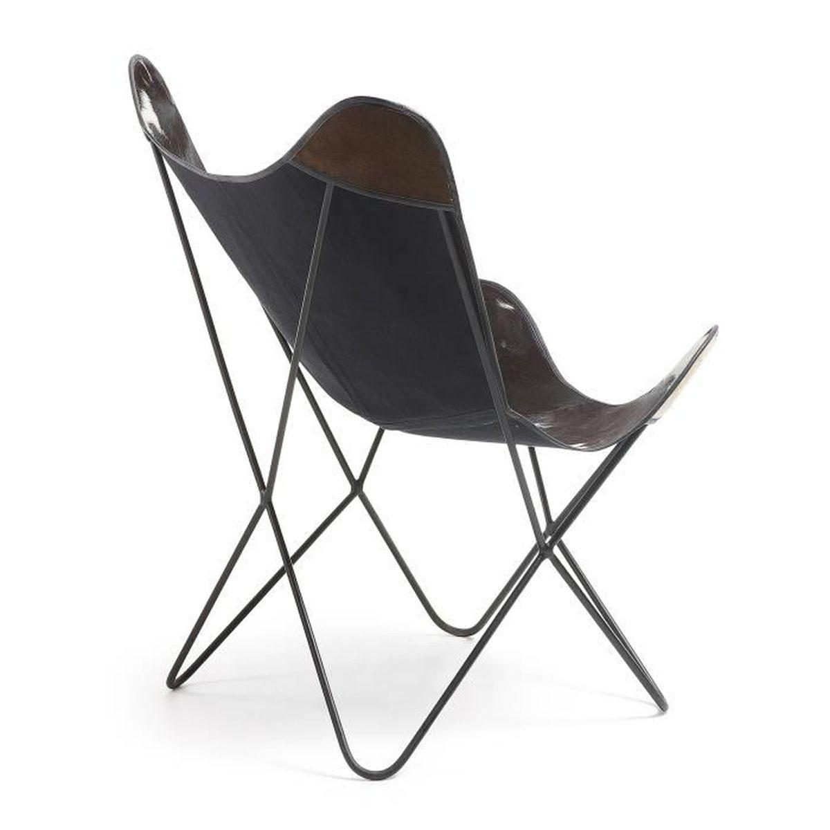 fauteuil fly cuir noir et blanc