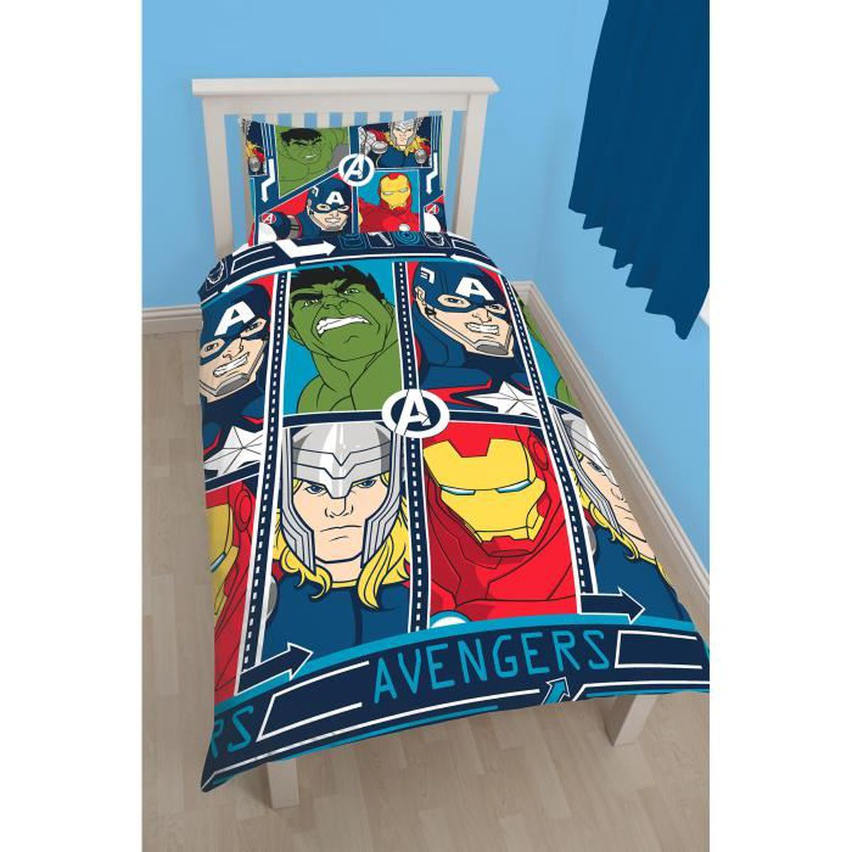 the avengers parure de lit housse de couette r versible. Black Bedroom Furniture Sets. Home Design Ideas
