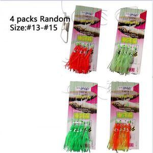 6 Crochets//Set Sabiki Rainbow Skin Feather String Crochet Pêche Leurre Rigs baits