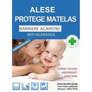 PROTÈGE MATELAS  Alèses - Molleton et PVC - Blanc - 60 x 120 cm