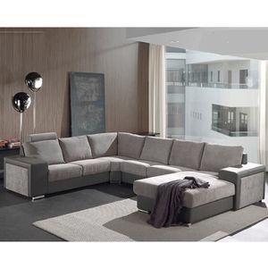 CANAPÉ - SOFA - DIVAN Canapé d'angle panoramique gris OMEGA - Gris Sans