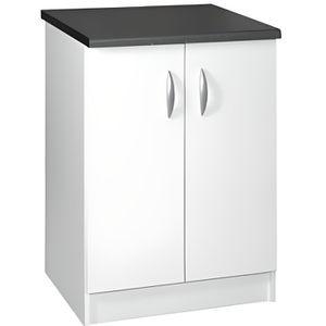 ELEMENTS BAS Meuble cuisine bas 60 cm 2 portes OXANE blanc