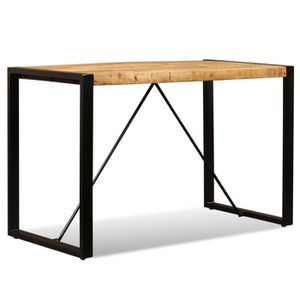 Festnight Fer Table de Cuisine de Salon Table /à D/îner Industriel Marron et Noir 220 x 100 x 75 cm Table de Salle /à Manger en Bois