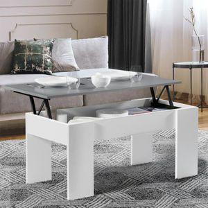 TABLE BASSE Table basse avec plateau relevable bois blanc et g