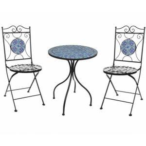Fer forgé Salon de Jardin 3 pièces Style Bistro mosaïque ...