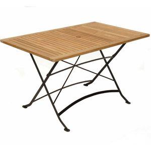 Table rectangulaire pliante en fer forgé et teck - Achat ...