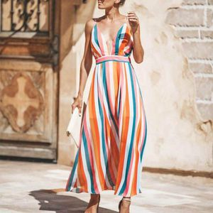 ROBE ROBE Mode Femmes Sexy V-cou multicolore à rayures