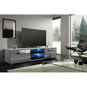 MEUBLE TV Meuble TV design LEON 140 cm à 2 tiroirs et 2 nich