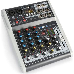 TABLE DE MIXAGE Vonyx VMM-K402 Table de mixage DJ 4 canaux avec in