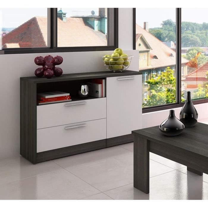 winn buffet 120 cm blanc et ch ne gris achat vente buffet bahut winn buffet 120 cm. Black Bedroom Furniture Sets. Home Design Ideas