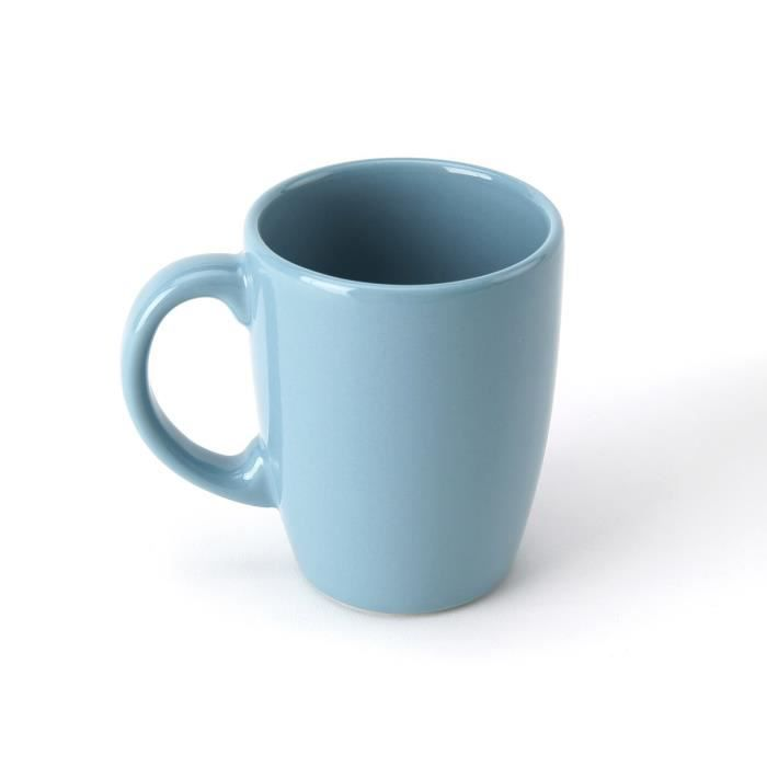 Lot 6 mugs en faience 30cL - bleu