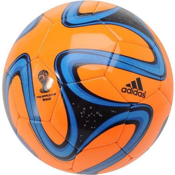 Ballon Brazuca Adidas Glider T5 Orange Bleu et Noir Coupe Du Monde de Football Brésil 2014