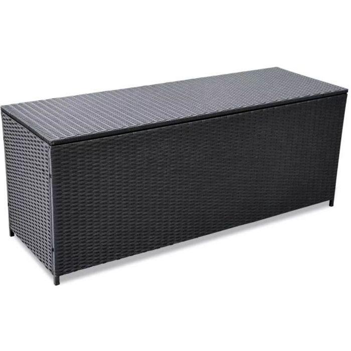 LAY❆ Boîte de rangement de jardin Noir 150x50x60 cm Résine tressée