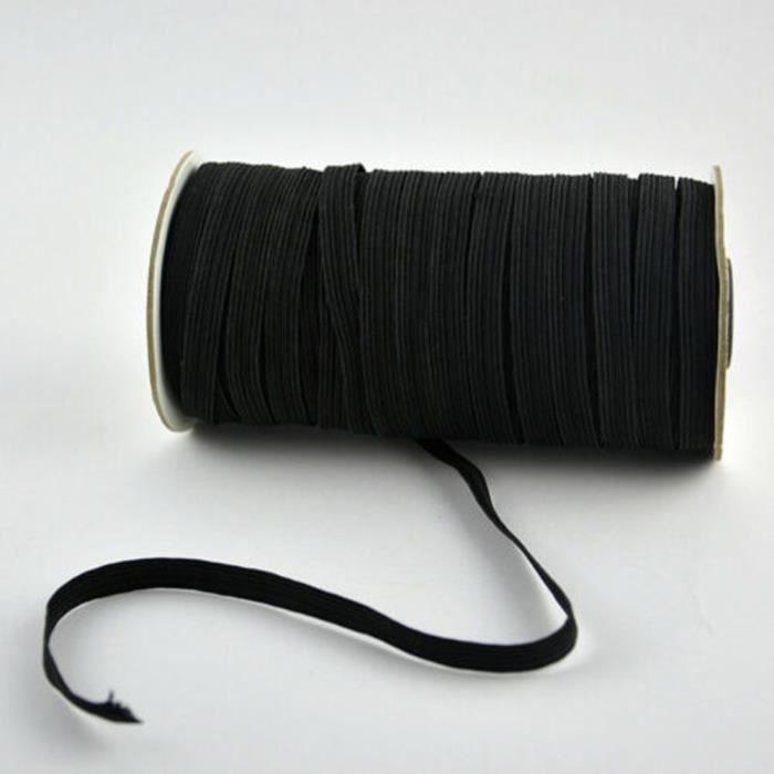 3MM Cordon Élastique Bobine 200Yard Plat Bande Tissu Rubans Extensible Noir Blanc Noir pour Couture Loisir Créatif Vêtements