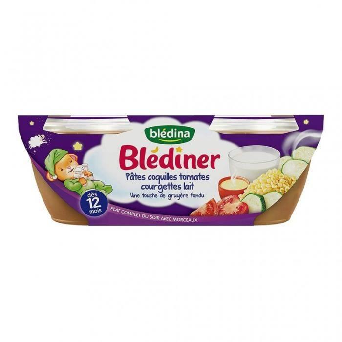 Blédina Blédiner Pâtes Coquilles Tomates Courgettes Lait Touche Gruyère (dès 12 mois) par 2 pots de